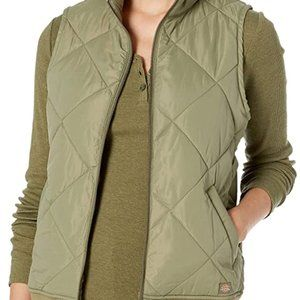 DICKIES Green Leaf Quilted Bomber Vest sz S